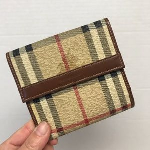 Burberry SnapWallet NovaCheck Brown Leather